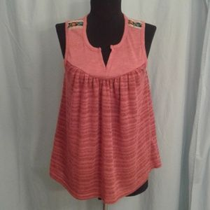 Ecote M knit Baby doll swing tank top flowers